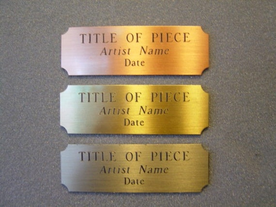 "Personalize your artwork with a Brass Engraved Plate ...3""x1"""