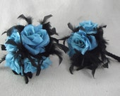 2 Bridal Wedding Bouquet Punk 4 Roses - Gothic Blue Aqua Turquoise Roses with Black Chandelle Feathers