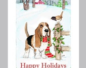 Basset Hound Christmas Cards Box of 16 Cards & Envelopes