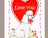 White Poodle Valentine Card