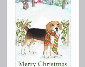 Beagle Christmas cards, box of 16 in a snowy scene