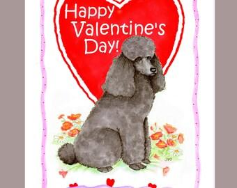 Black poodle Valentine Card
