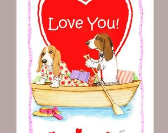 Basset Hounds Valentine Card