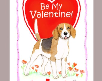 Beagle Valentine Card