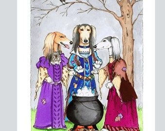 Saluki Witches from Macbeth, Box of 16  Blank Note Cards and Envelopes