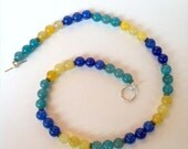 Blue, green, and yellow glass beaded necklace --- Madeline's Jewelry Box
