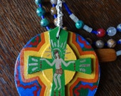 5 Decade Catholic Rosary, World Peace, Mother Teresa, La Divina Providencia Mexican Retablo Wrapped
