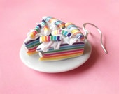 Rainbow Cake Earrings ( polymer clay silver earrings funny jewelry women girl handmade cake cute mini food )