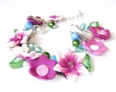 Silver Charm Bracelet with Pink, Purple Flowers and Leaves Polymer Clay