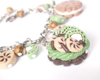 Sweet Cake Bracelet ( handmade silver jewelry funky gift kiwi cookies charm polymer clay mini food )