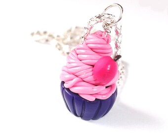 Cherry Cupcake ( food cupcake charm cupcake necklace miniature food cupcake jewelry pink necklace kids jewelry polymer clay miniature )