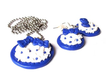 Blueberry Earrings Necklace ( mini food blue cake funny jewelry girl gift handmade )