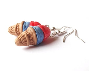 Ice Cream Earrings Strawberry Blueberry ( ice cream cone miniature food dessert food earrings kawaii polymer clay mini food jewelry)