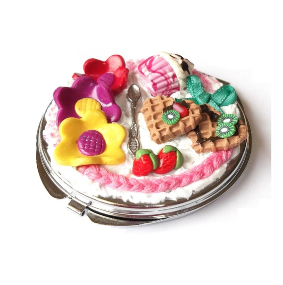 Compact Mirror Food Miniature ( mini food gift for girl polymer clay girly cute kawaii colorful mirror gift ideas miniature food mirror )