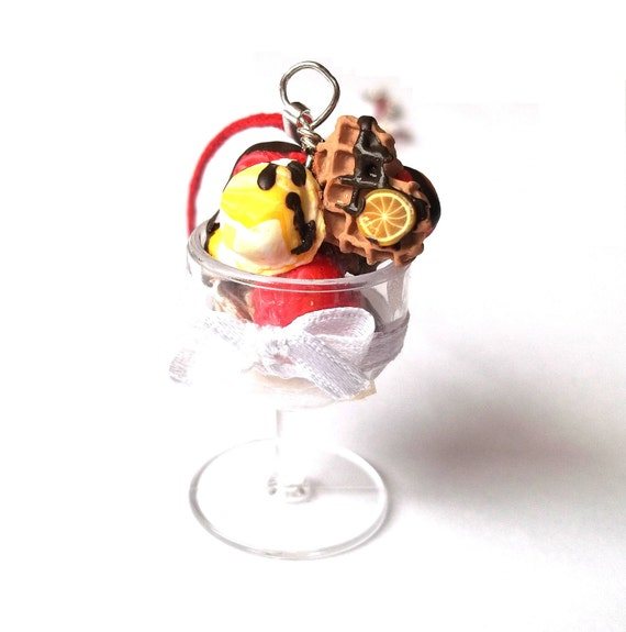 Ice Cream Sundae Necklace Strawberry Raspberry Chocolate Flavour Polymer Clay Red Cord Heart Waffle