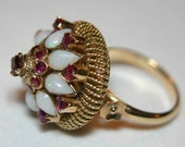 Private Sale For Yvonne:  Victorian 14K Gold Opal and Ruby Cocktail Ring Circa 1900