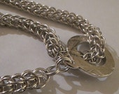 Heavy 925 Silver Byzantine Chain Maille Necklace with hand crafted silver toggle
