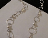 925 Silver Loop Chain with Laser Cut Beads and a Vintage Silver & Glass Clasp