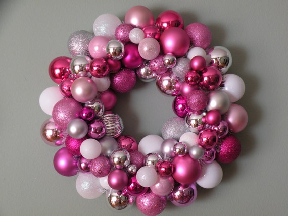 PINK WHITE Silver Ornament Wreath