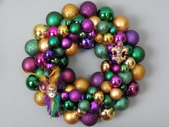 MARDI GRAS Ornament Wreath with Jester and Fleur-de-lis