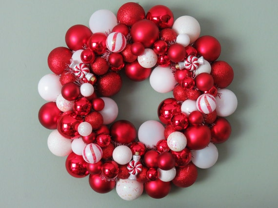 PEPPERMINT CHRISTMAS Ornament Wreath 22-- as seen in Southern Living