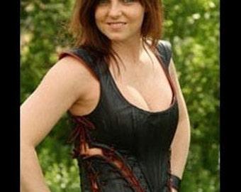 Victoria Tunic, Leather Corset dress, Steam punk