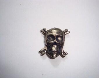 Skull & Cross Bone Buttons, Hand casted, Chicago Screw