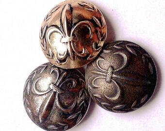 Fleur de Lis Button, Renaissance, Steampunk