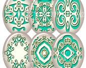 Digital Collage of Ivory-aquamarine ornaments - 36 30 x 40mm JPG images