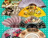 Digital Collage of Fans - 36 2x1 Inch JPG images - Digital Collage Sheet