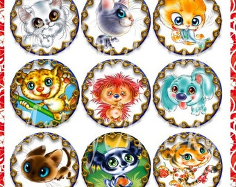 Funny Animals - 48 1x1 Inch Circle JPG images - Digital Collage Sheet