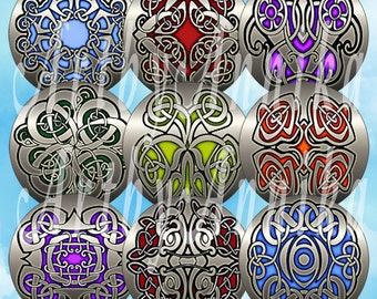 Digital Collage of Celtic patterns - 63 1x1 Inch Circle JPG images - Digital Collage Sheet