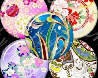 Refined Floral Designs - 63 1x1 Inch Circle JPG images - Digital Collage Sheet