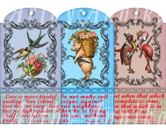 Digital Collage of Biblical scriptures Tags -  10 2x3.75 Inch JPG images - Digital Collage Sheet
