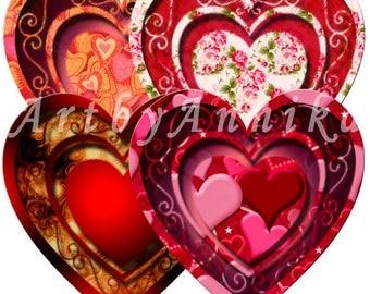 Postcards for Valentines Day - 12 Images - Printable Digital Collage Sheet