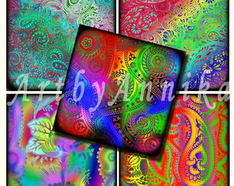 Digital Collage of Bright abstract paisley - 63 1x1 Inch Square JPG images - Digital Collage Sheet