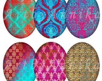 Digital Collage of Damask bright patterns - 36 30 x 40mm JPG images