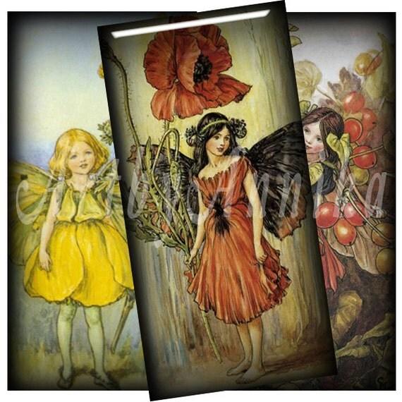 Digital Collage of Flower fairies - 35 1x2 Inch  JPG images - Digital Collage