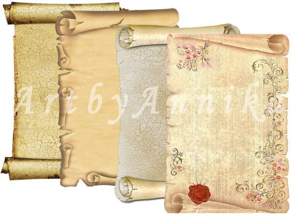 Ancient Scrolls - 9 2,5x3,5 inch ATC, ACEO cards - Printable Download