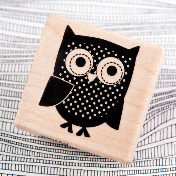 Owl wood mounted rubber stamp by hampton art by redfinchstudio for Custom craft rubber stamps