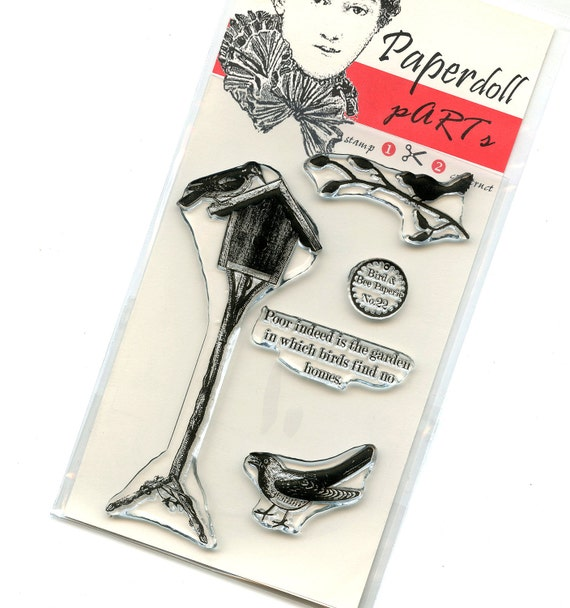 Clear Acrylic Stamp Set from the Bird and Bee Paperie line - Birdhouse