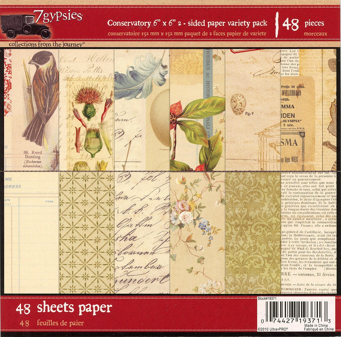 6x6 Paper Pad From 7 Gypsies Conservatory Collection