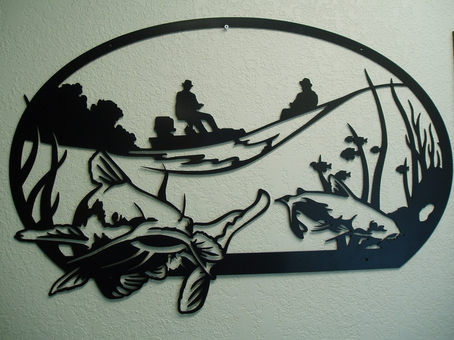 Catfish Silhouette Catfish fisherman - metal wall