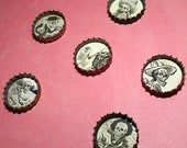 Single Skeleton Black and White Day of the Dead Bottlecap Necklace