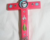 Metallic Tomato Mexican Folk Art Cross with Day of the Dead Sugar Skull Bottlecap and Milagras