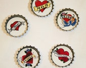 Mother's Day Bottlecap Magnets Set of 5 Tattoo Hearts