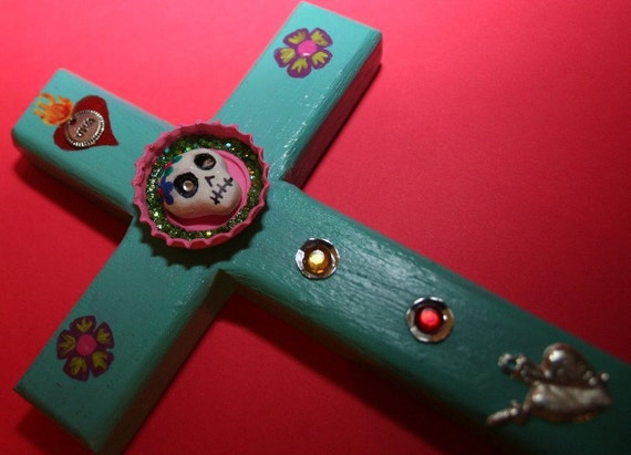 Mexican Folk Art Cross with Day of the Dead Sugar Skull Bottlecap and Milagras