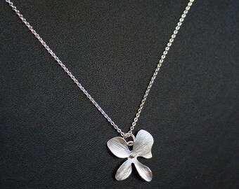 Silver Orchid Necklace. Sterling Silver. Bridesmaid Necklace. Bridesmaid Gift. Bridal. Wedding. Wedding Necklace. Wedding Jewelry.Delicate