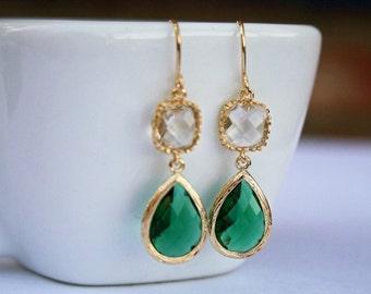 Gold Emerald Green Earrings. Crystal Clear Earrings.Green Earrings.Bridesmaid Earrings. Bridesmaid Gift.Bridal Jewelry.Wedding Earrings.Mom