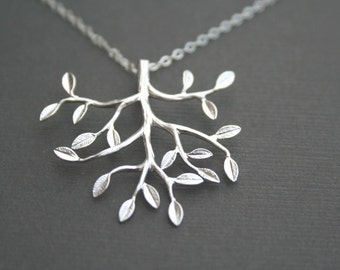 Silver Tree Necklace. Tree Necklace. Tree Jewelry.Bridal Jewelry. Wedding Necklace.Bridesmaid Necklace.Bridesmaid Gifts.Silver Necklace.Mom